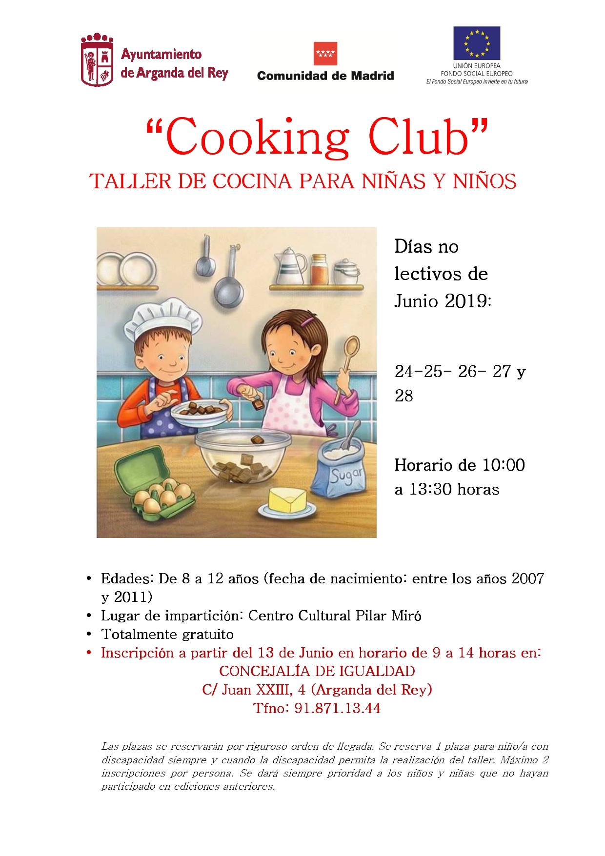 """El jueves 13 de junio se abre el plazo de inscripción para una nueva edición de """"Cooking Club"""""""