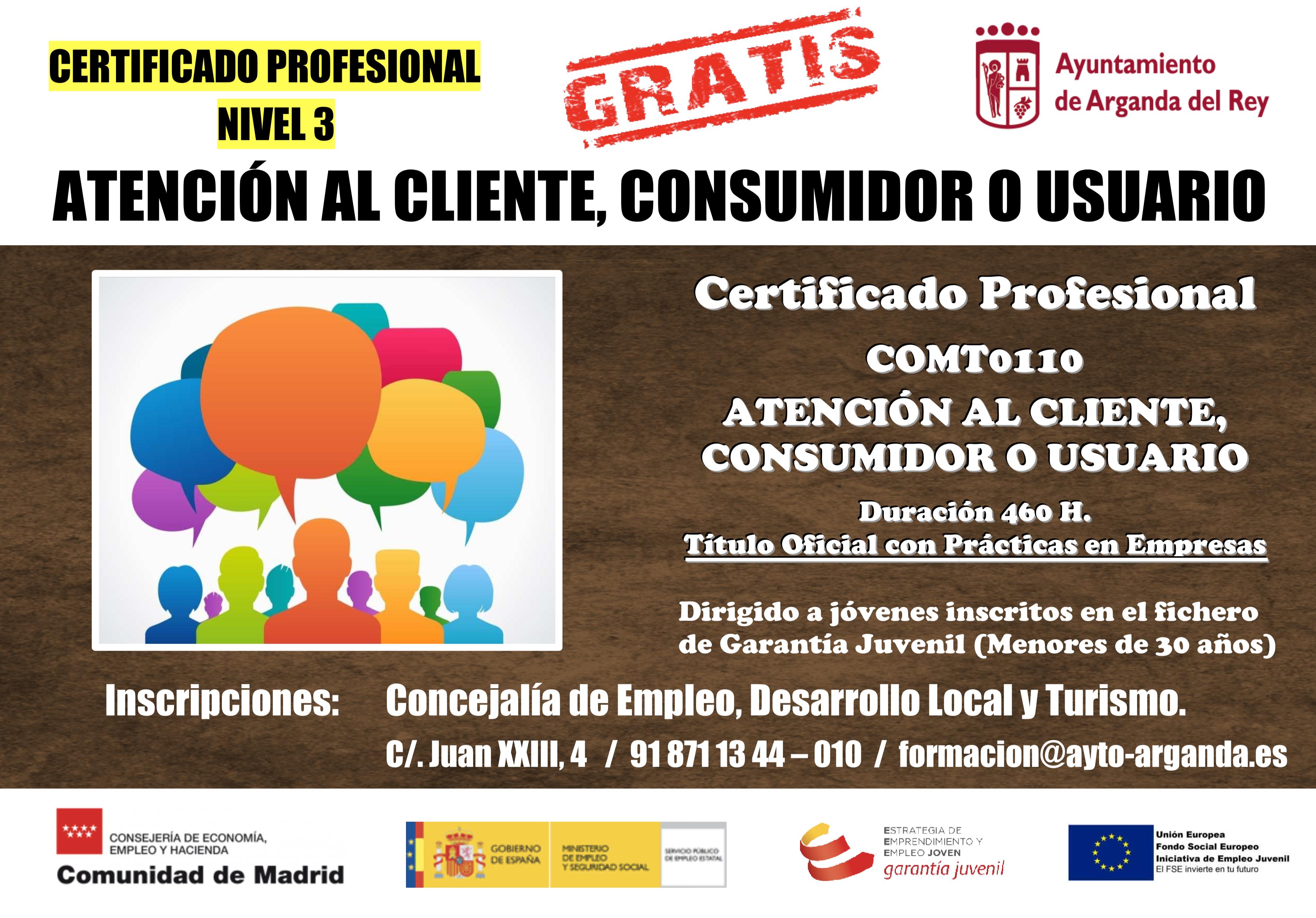 Cursos Certificados de Profesionalidad para jóvenes inscritos en el fichero nacional de Garantía Juvenil