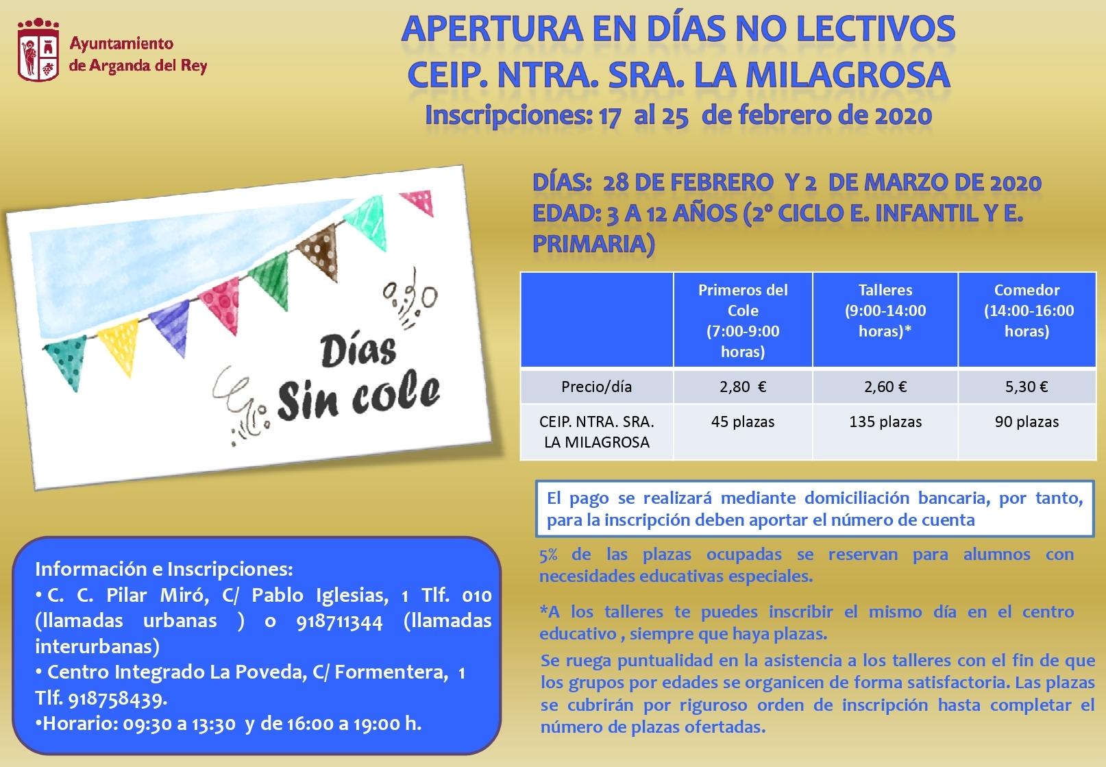 El CEIP Nuestra Señora de la Milagrosa abrirá los días no lectivos 28 de febrero y 2 de marzo