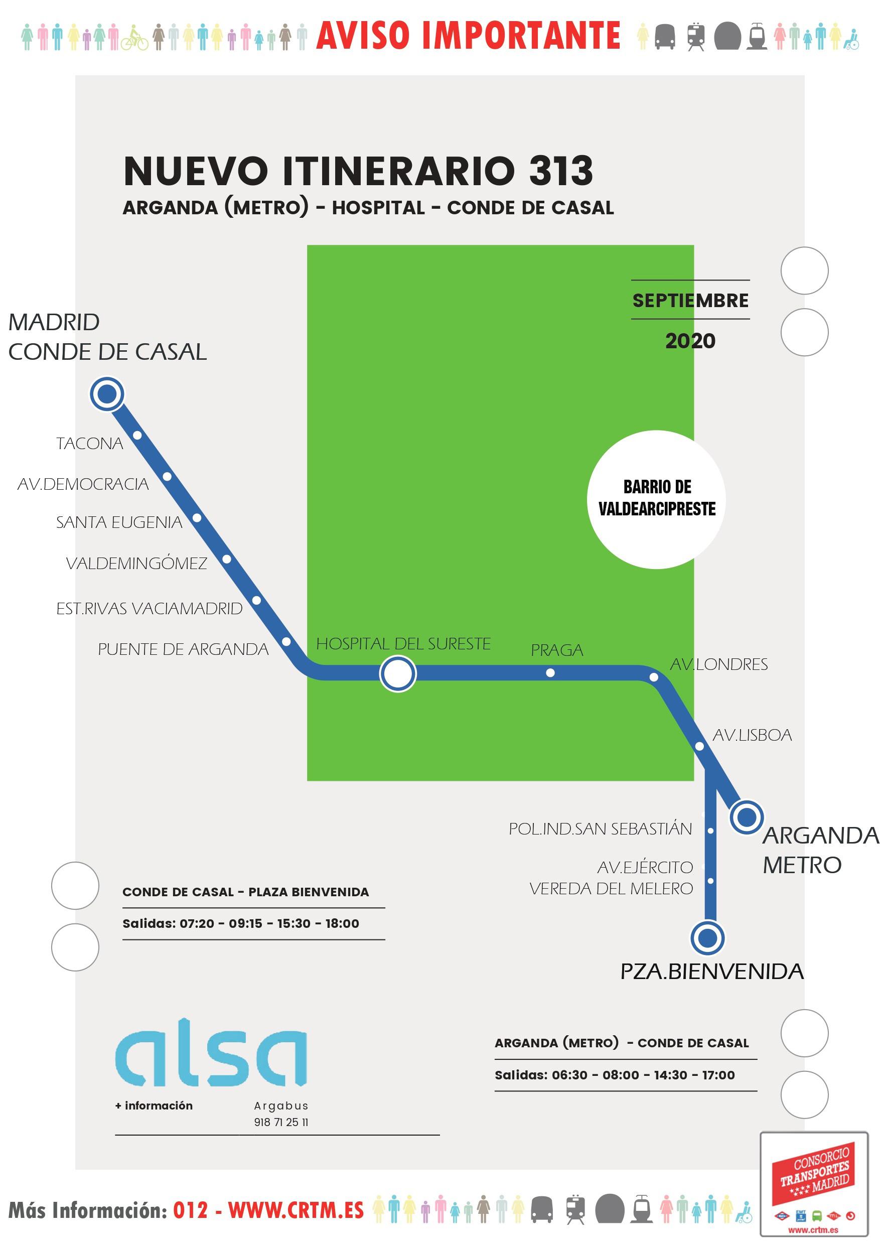 Nuevo itinerario de la línea 313 de autobuses para cubrir la demanda de los vecinos y vecinas del barrio de [...]