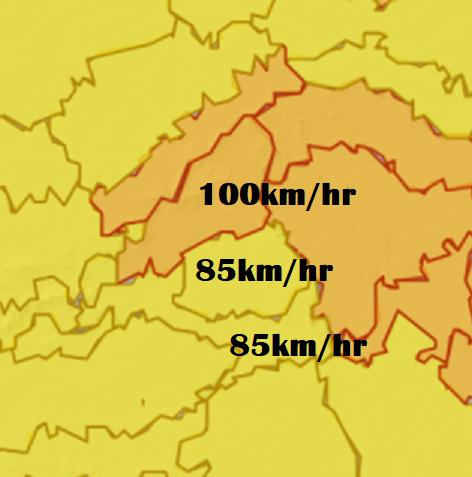 Aviso amarillo por fuertes vientos entre las 4:00 y las 10:00 horas del viernes