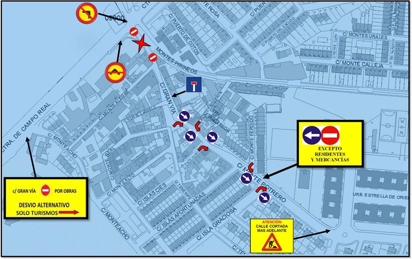 Cortes de tráfico por obras en la calle Gran Vía de La Poveda a partir del lunes 12 de abril