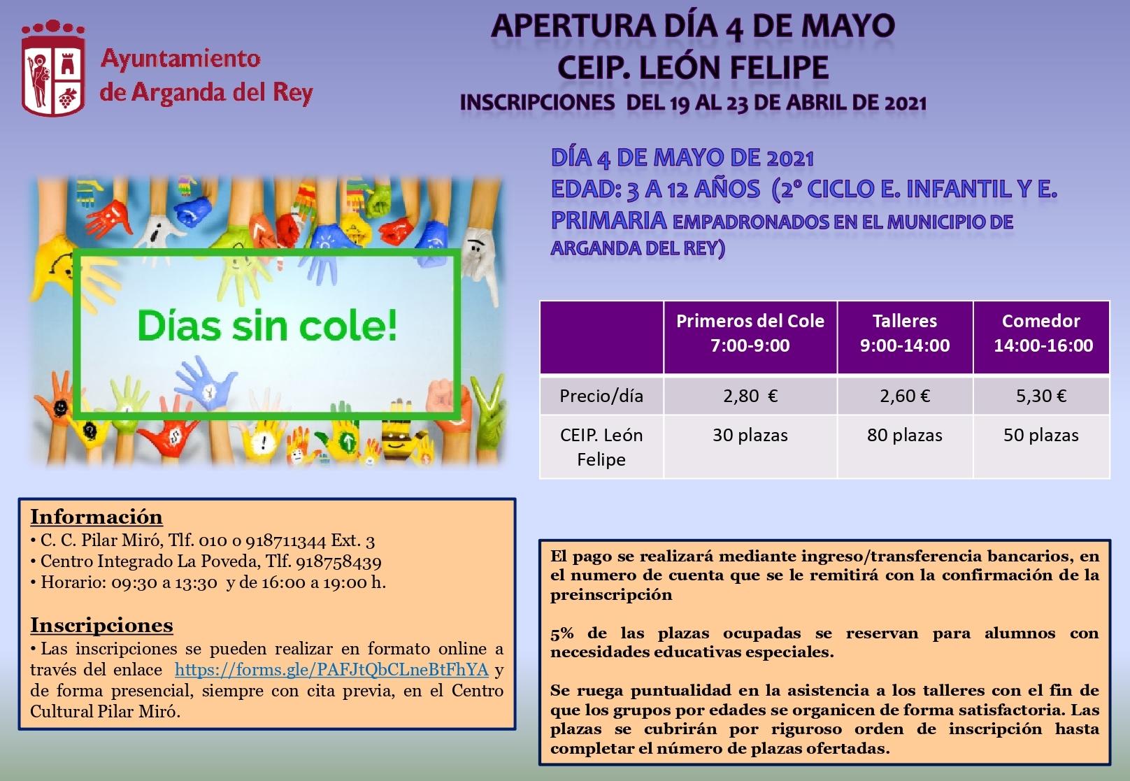 El CEIP León Felipe tendrá una apertura especial el próximo 4 de mayo para niños y niñas de 3 a 12 años