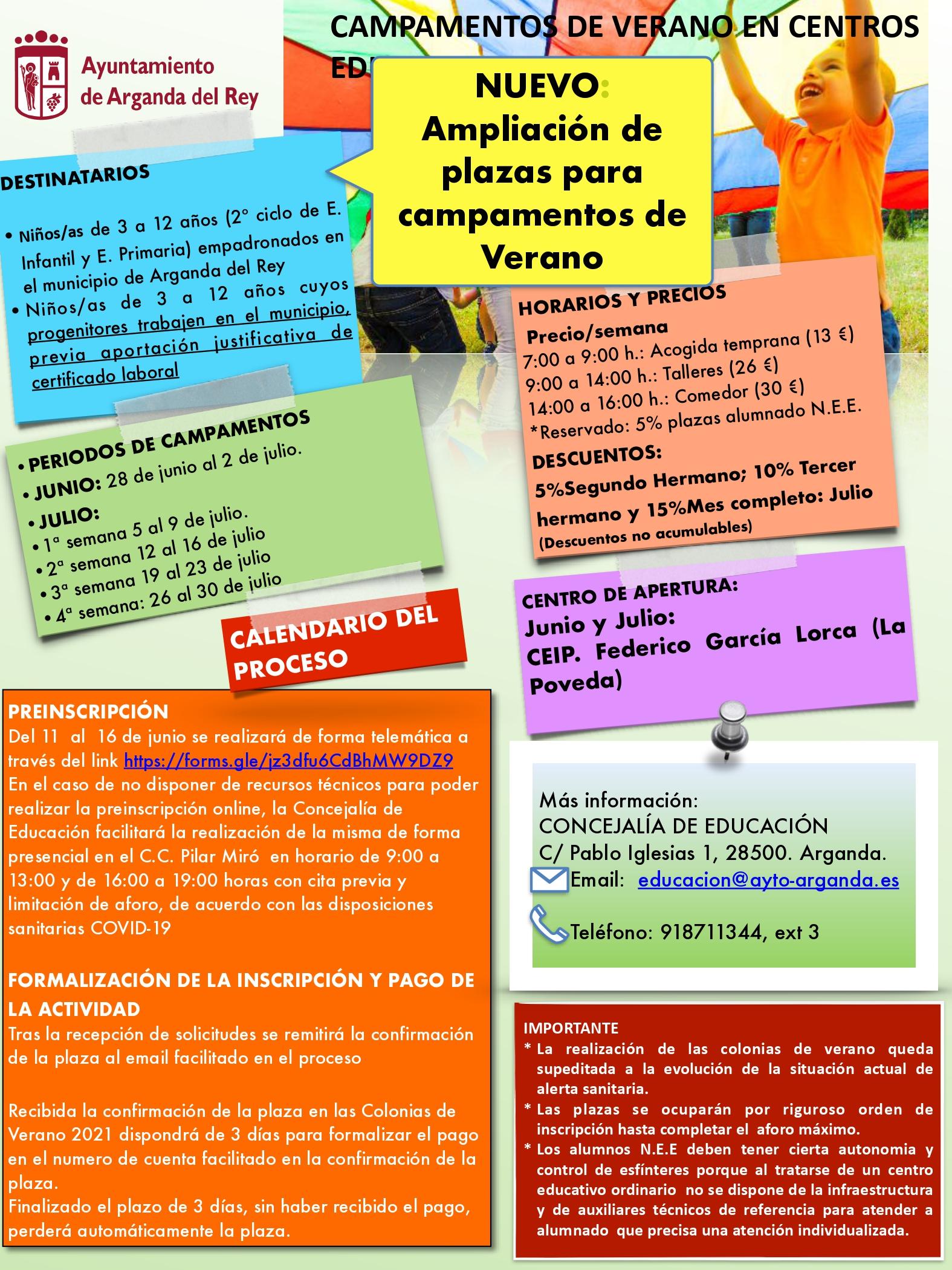 Ampliado el plazo de inscripción para los Campamentos de Verano en el CEIP Federico García Lorca