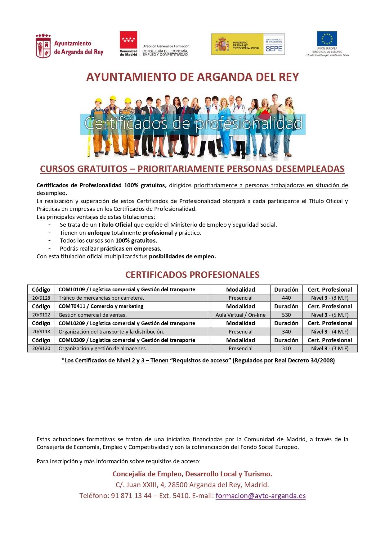 El Ayuntamiento de Arganda del Rey pondrá en marcha nuevos Certificados de Profesionalidad para personas [...]