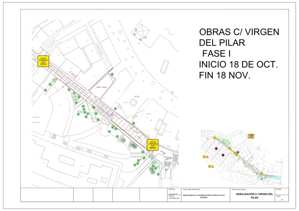 A partir del 18 de octubre comenzarán las obras de renovación de la pavimentación de la calle Virgen del Pilar